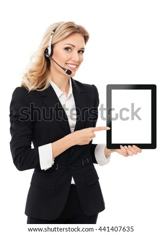 Portrait of support phone operator in headset showing blank no-name tablet pc monitor, with copyspace area for text or slogan, isolated against white background - stock photo