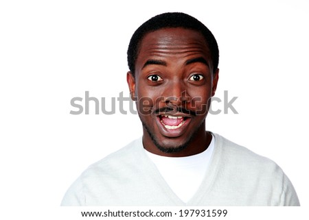 Portrait of surprised african man over white background