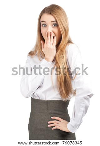 Portrait of surprised attractive businesswoman covering her mouth by the hand, over white background - stock photo
