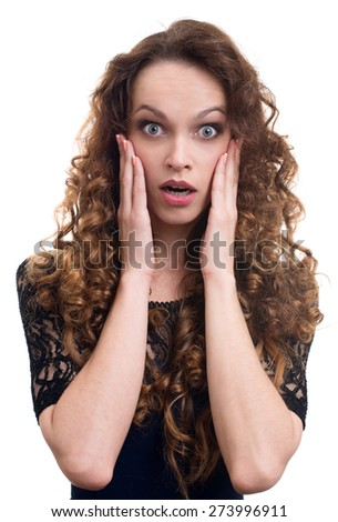 portrait of surprised beautiful girl holding her head in amazement. Isolated on white - stock photo