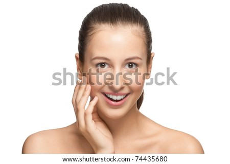 Portrait of surprised beautiful girl with open mouth, isolated on white