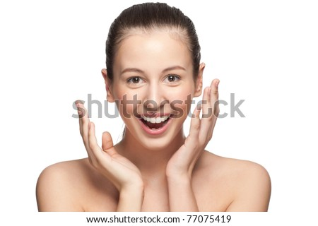 Portrait of surprised beautiful girl with open mouth, isolated on white - stock photo