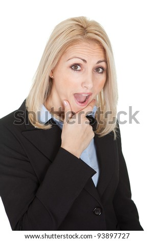 Portrait of surprised businesswomen. Isolated on white
