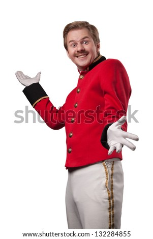 Portrait of  surprised concierge (porter) - stock photo