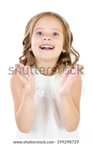 Portrait of surprised happy adorable little girl isolated on white - stock photo