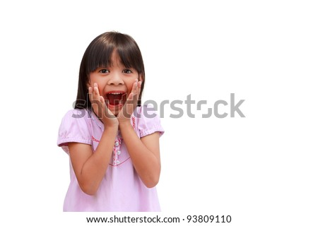 Portrait of surprised little girl, Isolated on white - stock photo