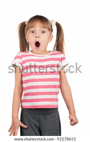 Portrait of surprised little girl over white background - stock photo
