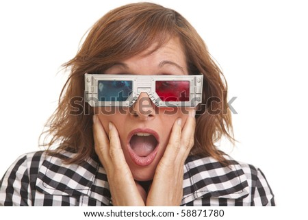 Portrait of surprised young woman with 3D glasses - stock photo