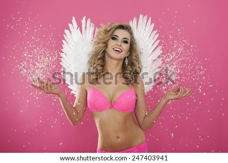 Portrait of sweet and sexy angel  - stock photo