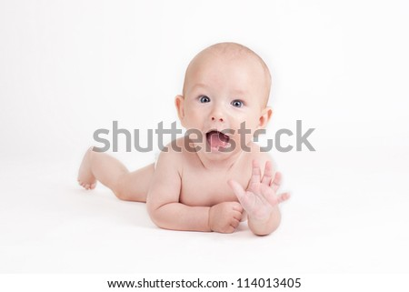 Portrait of sweet little baby boy on a white background