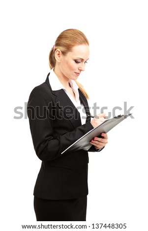 Portrait of teacher woman with clipboard, isolated on white