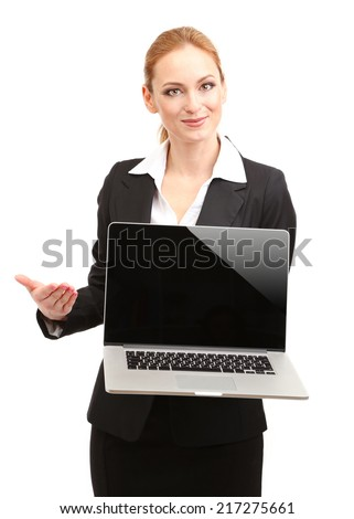 Portrait of teacher woman with laptop, isolated on white - stock photo
