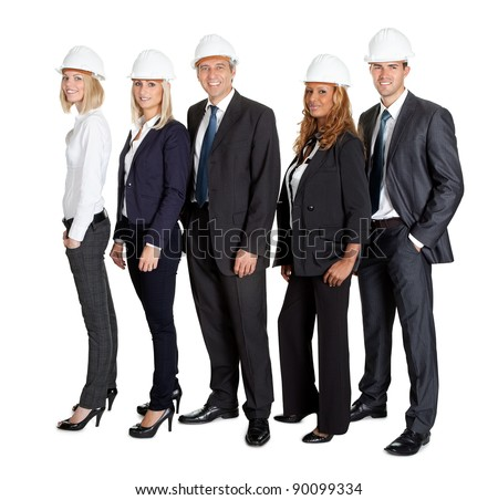 Portrait of team of confident civil engineer standing together isolated on white background - stock photo