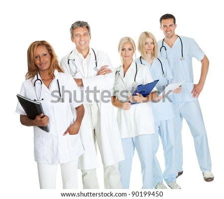Portrait of team of confident doctors over white background - stock photo