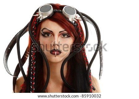 portrait of teen girl informal cyber punk with blank expressions isolated on white background