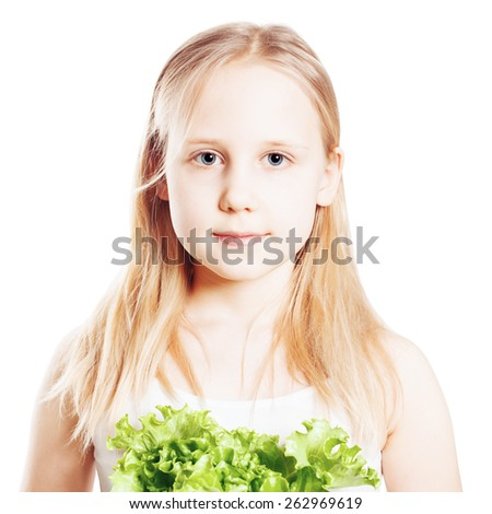 Portrait of Teen Girl with green Vegetable, Healthy Eating concept - stock photo