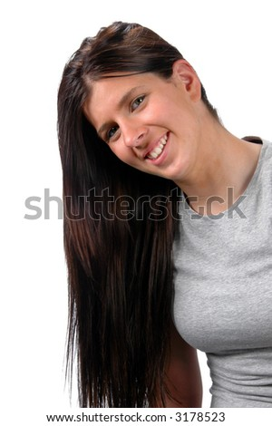 Portrait of teen with long hair on the side isolated over a white background.