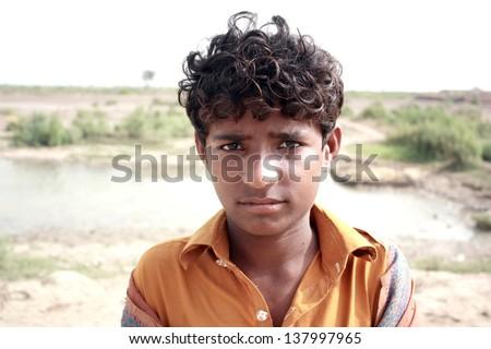 Portrait of teenage boy - stock photo
