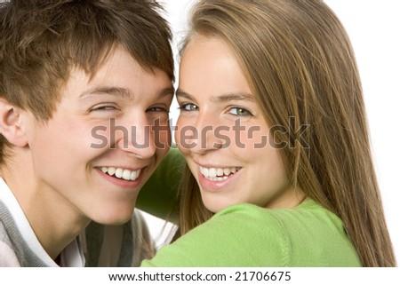 Portrait of Teenage Couple - stock photo