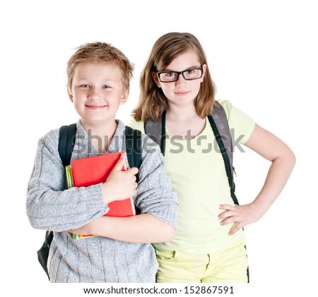 Portrait of teenage girl and boy isolated on white background. - stock photo
