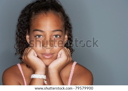 Portrait of teenage girl - IS982-042 - stock photo