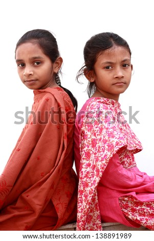 Portrait of teenage girls - stock photo