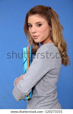 Portrait of teenage student - stock photo