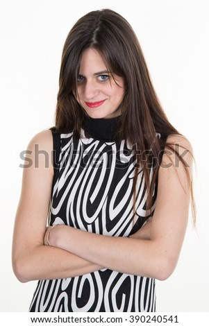 Portrait of teenager brunette girl with pouting sad expression - stock photo