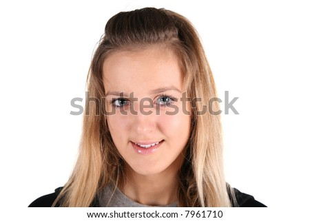 portrait of teenager girl on white - stock photo