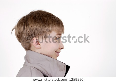 portrait of teenager on white background