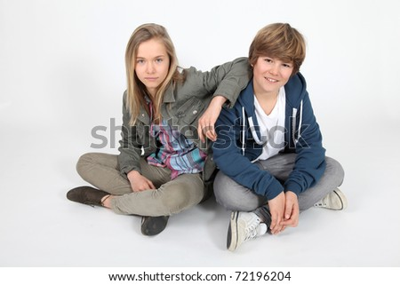 Portrait of teenagers on white background - stock photo