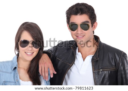 portrait of teenagers with sunglasses - stock photo
