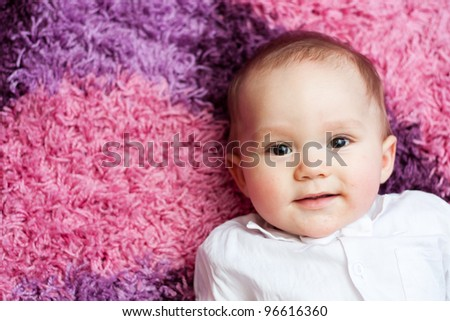 Portrait of ten months old sweet baby - stock photo