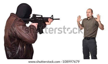 portrait of terrorist back view and young hostage - stock photo