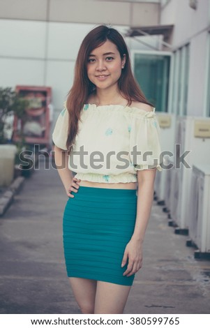 Portrait of thai adult businesswoman beautiful girl relax and smile