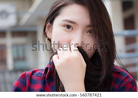 Portrait of thai china teen beautiful girl happy and relax
