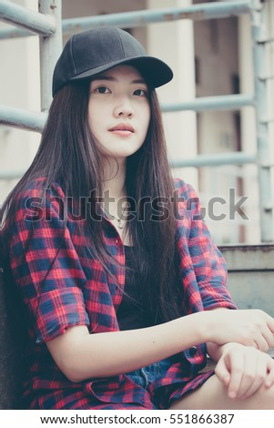 Portrait Of Thai China Teen Beautiful Girl Happy And Relax In Vintage Style