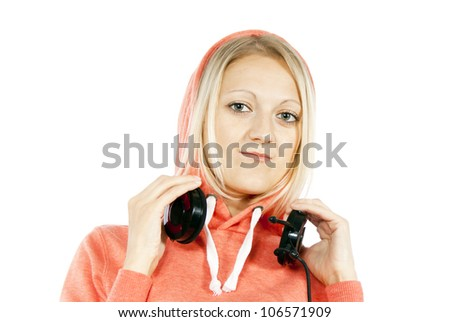 portrait of the a girl with headphones - stock photo