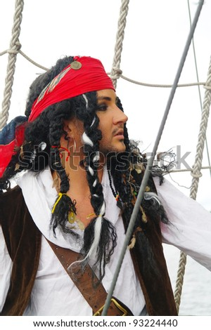 Portrait of the actor in the guise of pirate on a sailing ship, the Castor-1, Moscow