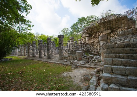 Portrait of the architecture of the Mayan pyramid - stock photo
