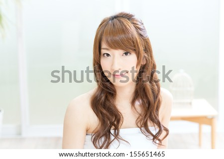 Portrait of the asian woman with beauty face and perfect skin - stock photo