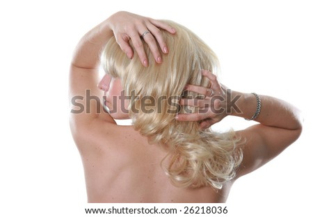 Portrait of the beautiful attractive blonde in studio