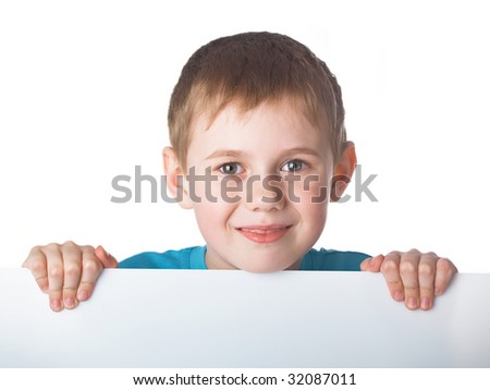 Portrait of the beautiful boy on the white background - stock photo