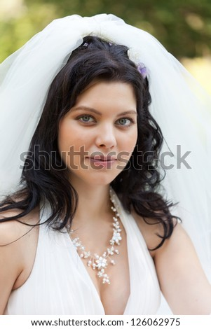 Portrait of the beautiful bride in a snow-white veil - stock photo
