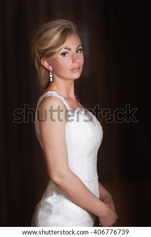 Portrait of the beautiful happy bride - stock photo