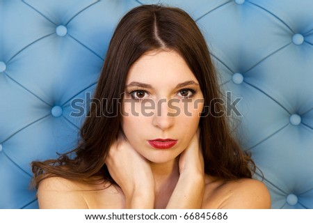 Portrait of the beautiful model with long hair - stock photo
