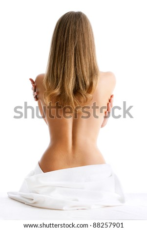 Portrait of the beautiful naked woman back, isolated on white - stock photo