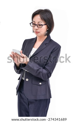 Portrait of the beautiful nice woman talking on cell phone - stock photo