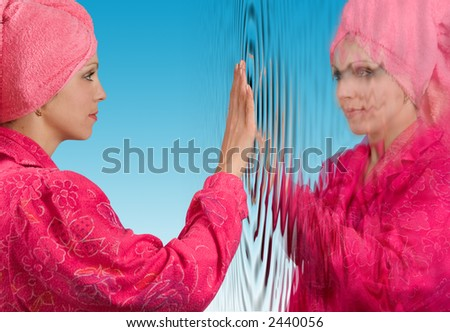 Portrait of the beautiful woman after bathing - stock photo