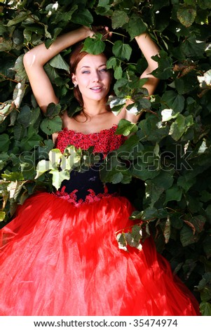 Portrait of the beautiful woman in a red ball dress